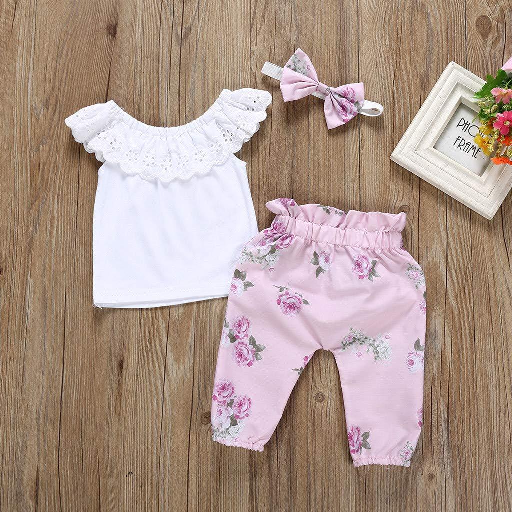 0-18 Mesi Bambini Neonato feiXIANG T-Shirt Tinta Unita Fascia 3 Pezzi Costume Set Primaverili Estate Pantaloni a Fiori