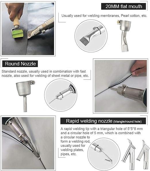 kit de soldadura para pisos TTLIFE Soldador de pl/ástico 1600W pistola de calor para soldadura de vinilo antorcha de aire caliente pistola de calor soldador de pl/ástico