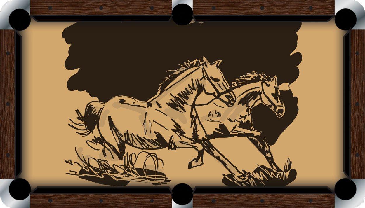 プールテーブルFeltビリヤードCloth – Vivid – Wild Horses B01E5Z3Q10  9 foot