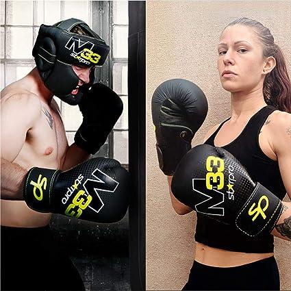 Hommes et Femmes   Noir et Vert Starpro Gants de Boxe M33 /à Coque Simple pour la Formation Professionnel en Muay Thai Kickboxing Fitness et Boxercise Cuir synth/étique Mat