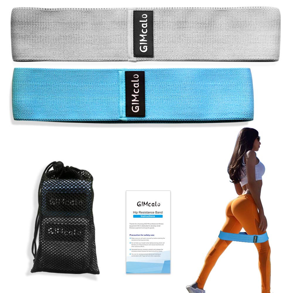 GIMCALO Glute Bands Hip Resistance Bands Workout Bands Exercise, Booty Circle Resistance Bands for Legs and Butt, Non-Slip Heavy Fabric Hip Band for Women Men, Thigh Loop Set of 2 (Blue(L)/Gray(XL))