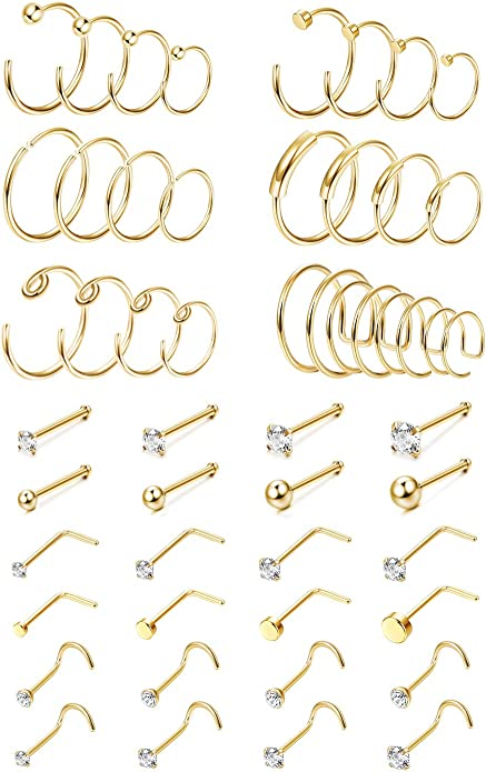 Gold-Tone 316L Surgical Steel Leaf Nose Stud Ring Choose Your Style 20G