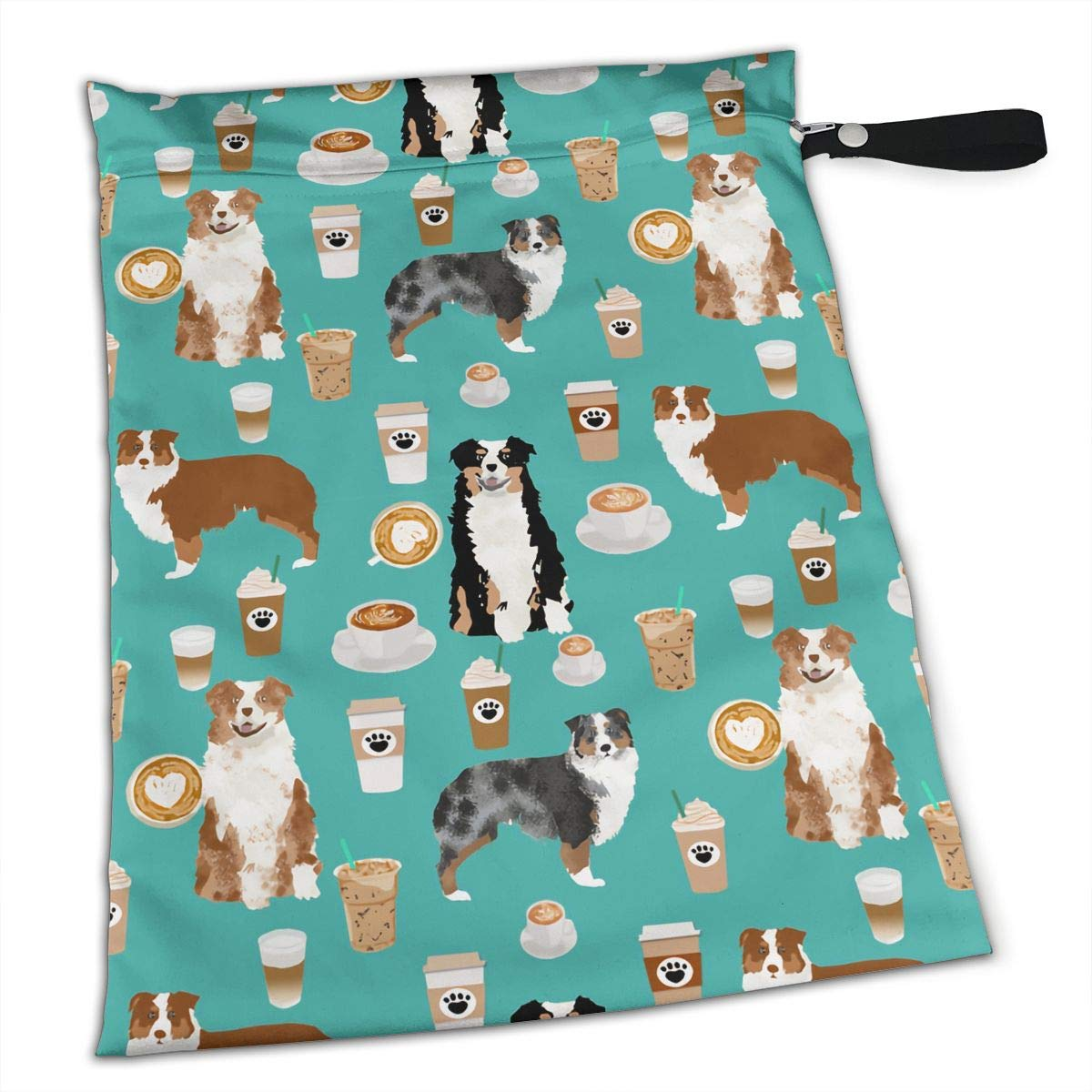 Australian Shepherd Dog Coffee Tote Travel Accessories Size Happens Reusable Laundry Beach Toddler Dry Bag for Workout Swim Wet Kid Baby Gym Clothes Cloth Diaper Wetbag by Coobaby
