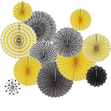 Amazon Com Set Of 12 Black Yellow Bee Party Decoration Hanging