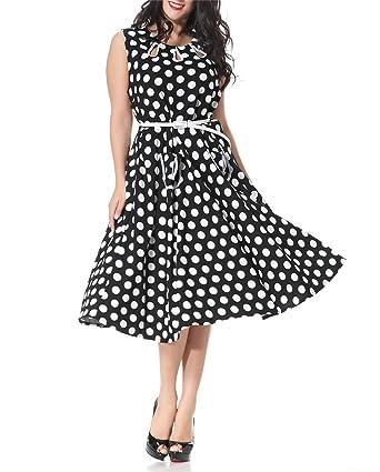 8bd926b932e Dobeans Vintage Prom Gown Plus Size Polka Dot Mid Length 50s Style Dress -  Black -