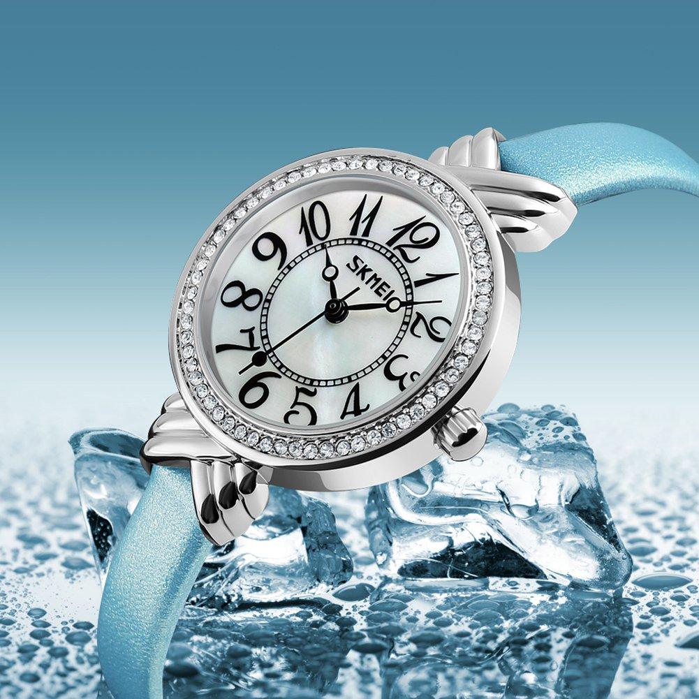 Luxury Brand Women Vintage Quartz Watch Fashion Female Crystal Leather Watch Girl Easy Reader Dress Watch (Light Blue) by Gosasa (Image #4)