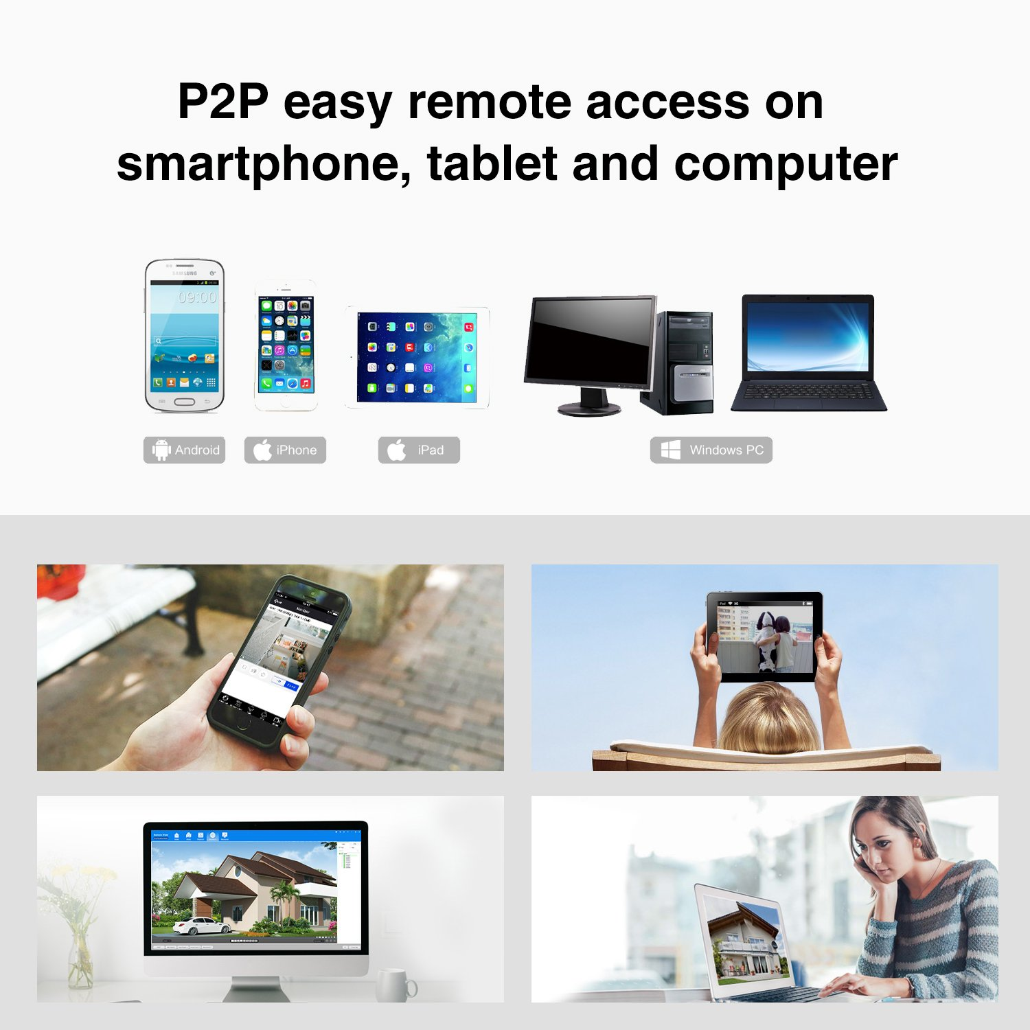 Ture PoE SANNCE 8 Channel 4.0MP 2560 * 1440 APP/&Email Alert 1080P VGA/&HDMI Output H.265 Home NVR CCTV System with Easy Remote Access 8 2.0MP Outdoor IP Camera Kits,IP66 Metal Casing NO HDD