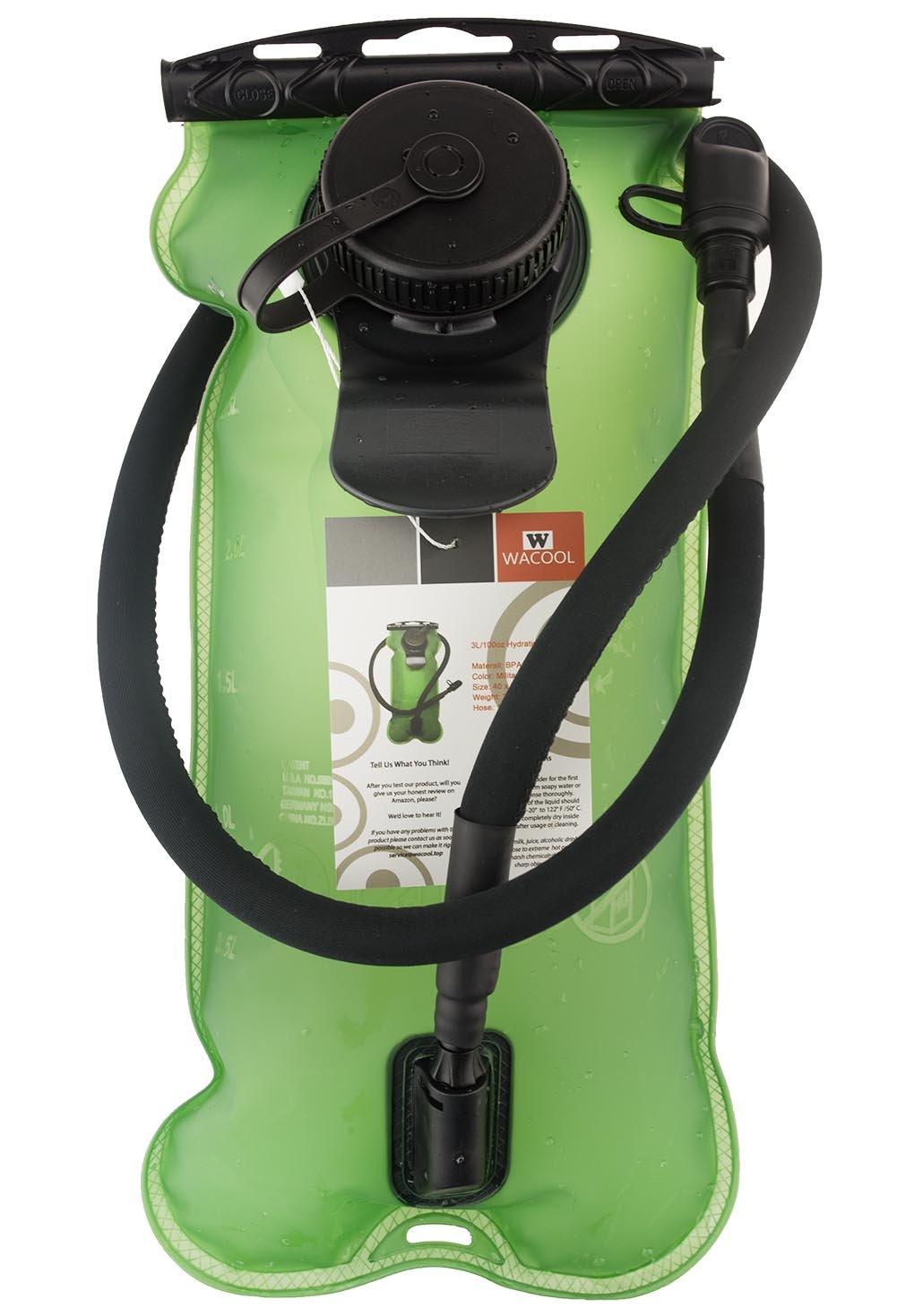 WACOOL 3L 3Liter 100oz BPA Free EVA Hydration Pack Bladder, Leak-Proof Water Reservoir (Green(Double Opening)) by WACOOL