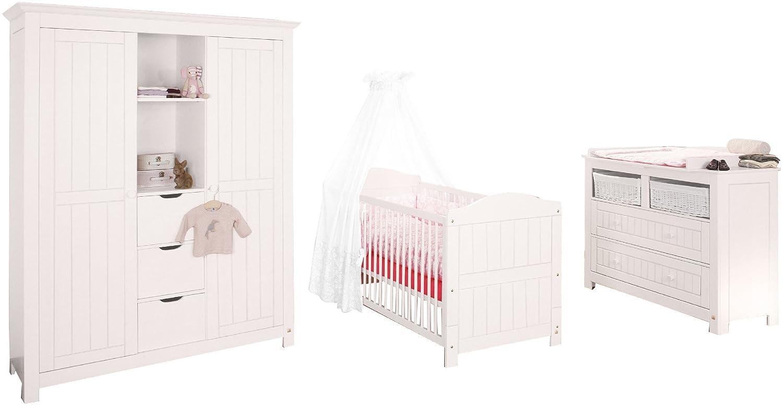 Pinolino 101617BG - Nina Kinderzimmer breit, groß, 3-teilig mit Kinderbett, breiter Kommode und großem Kleiderschrank (ohne Textilien) groß