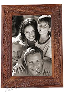 "Artesia Wood carved Photo Frame College Photo Frame (4""x1""x7.5"") College Type Wooden Photo Frame Family Photo Frame Couple Photo Frame"