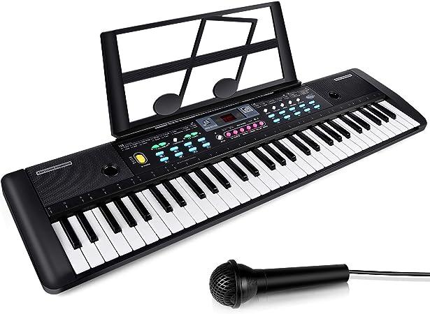 ZJTL Teclado digital eléctrico de piano con 61 teclas, soporte de música y micrófono, teclado electrónico portátil (niños y adultos) MQ-6112