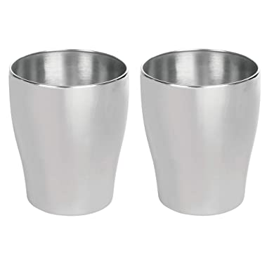 mDesign Modern Round Metal Small Trash Can Wastebasket, Garbage Container Bin for Bathrooms, Powder Rooms, Kitchens, Home Offices - Pack of 2, Durable Stainless Steel with Brushed Finish