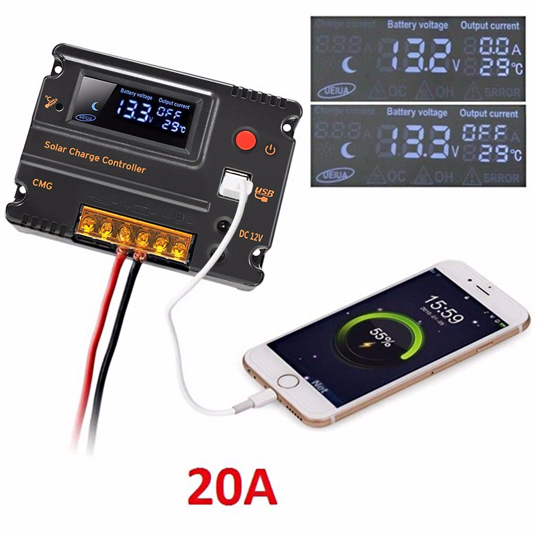 Mohoo 20a 12v 24v Solar Charge Controller Auto Switch Simple Pwm Controlled Dc To Cell Phone Charger Circuit Science Lcd Intelligent Panel Battery Regulator Overload Protection