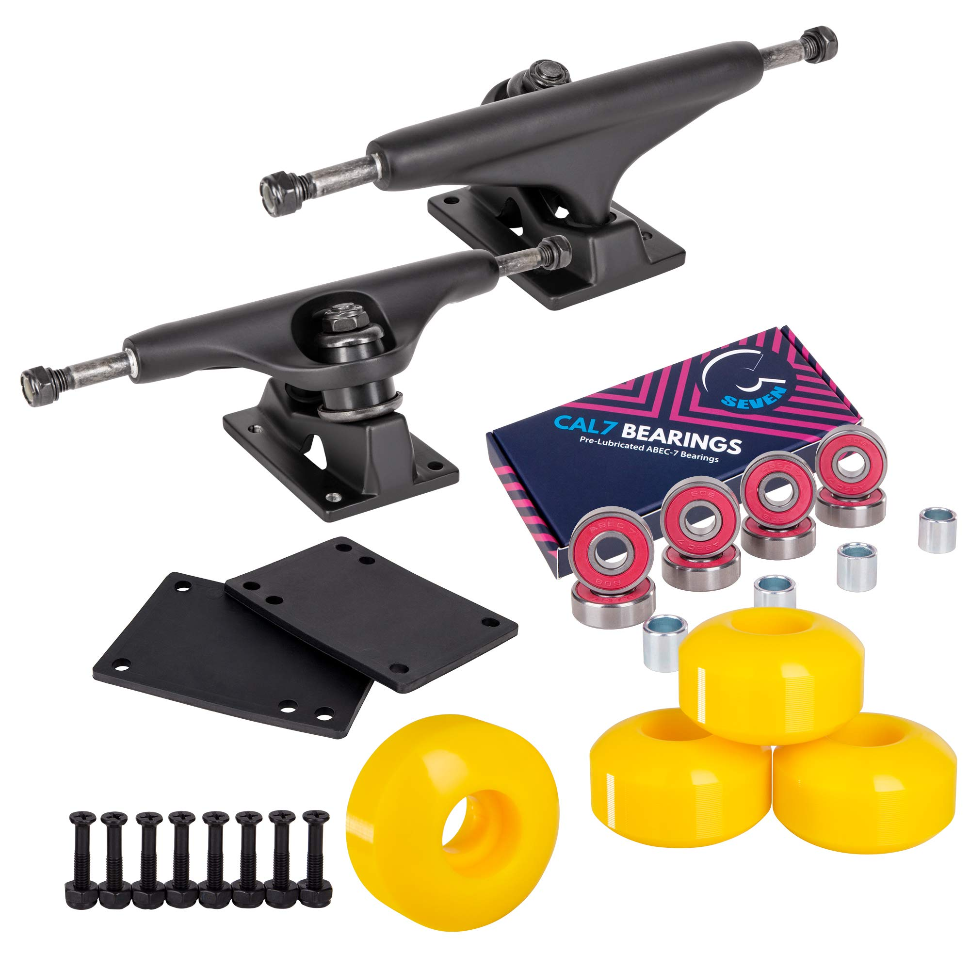Cal 7 Skateboard Package, Complete Combo Set with 5.5 Inch Quality Aluminum Trucks, 52mm 99A Wheels, Bearings & Hardware (Yellow) by Cal 7