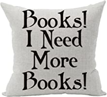 "Cotton Linen Square Decorative Throw Pillow Case Cushion Cover Book Lover Reading Book Club Books I Need More Books 18 ""X18 """