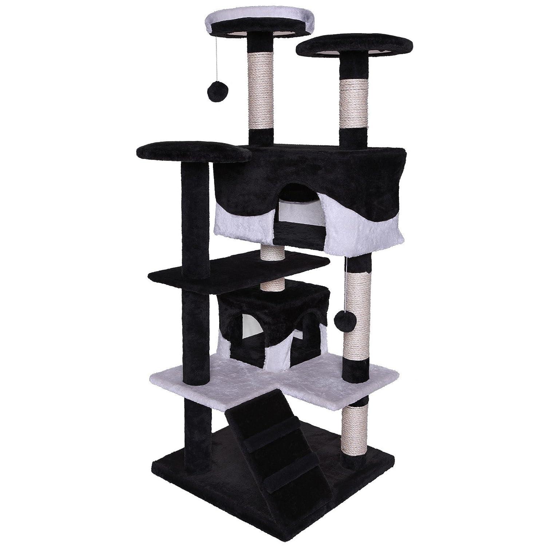 dibea KB00301 Kratzbaum - Kletterbaum für Katzen (Höhe 130 cm) schwarz/weiß KB00308