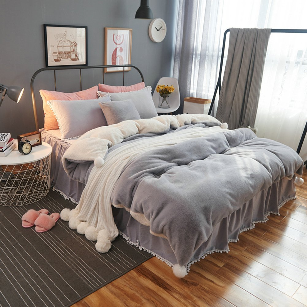 Thicken Cashmere Bedding Sets Flannel - 100% Polyester Bed Skirt with Pompons Princess Room Decorations Girls Gift Pure Grey Twin