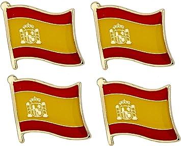 Juego de 4 x Insignias de Pin de Bandera de España.: Amazon.es: Juguetes y juegos