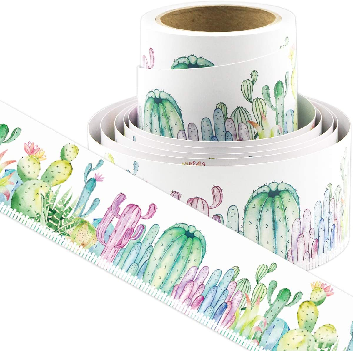 Watercolor Cactus Bulletin Board Borders Straight Border Trim for Classroom Decoration Bulletin Board Chalkboard Whiteboard 36ft