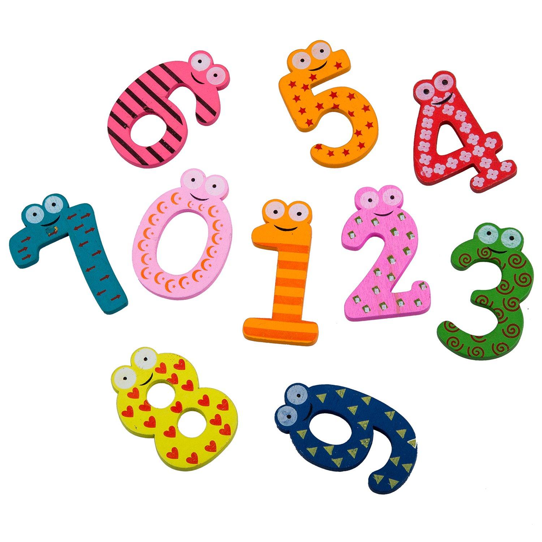 REFURBISHHOUSE Colourful Numeri magnetici Giocattolo del Magnete del Frigorifero di Legno, Numeri Educational Math Giocattolo