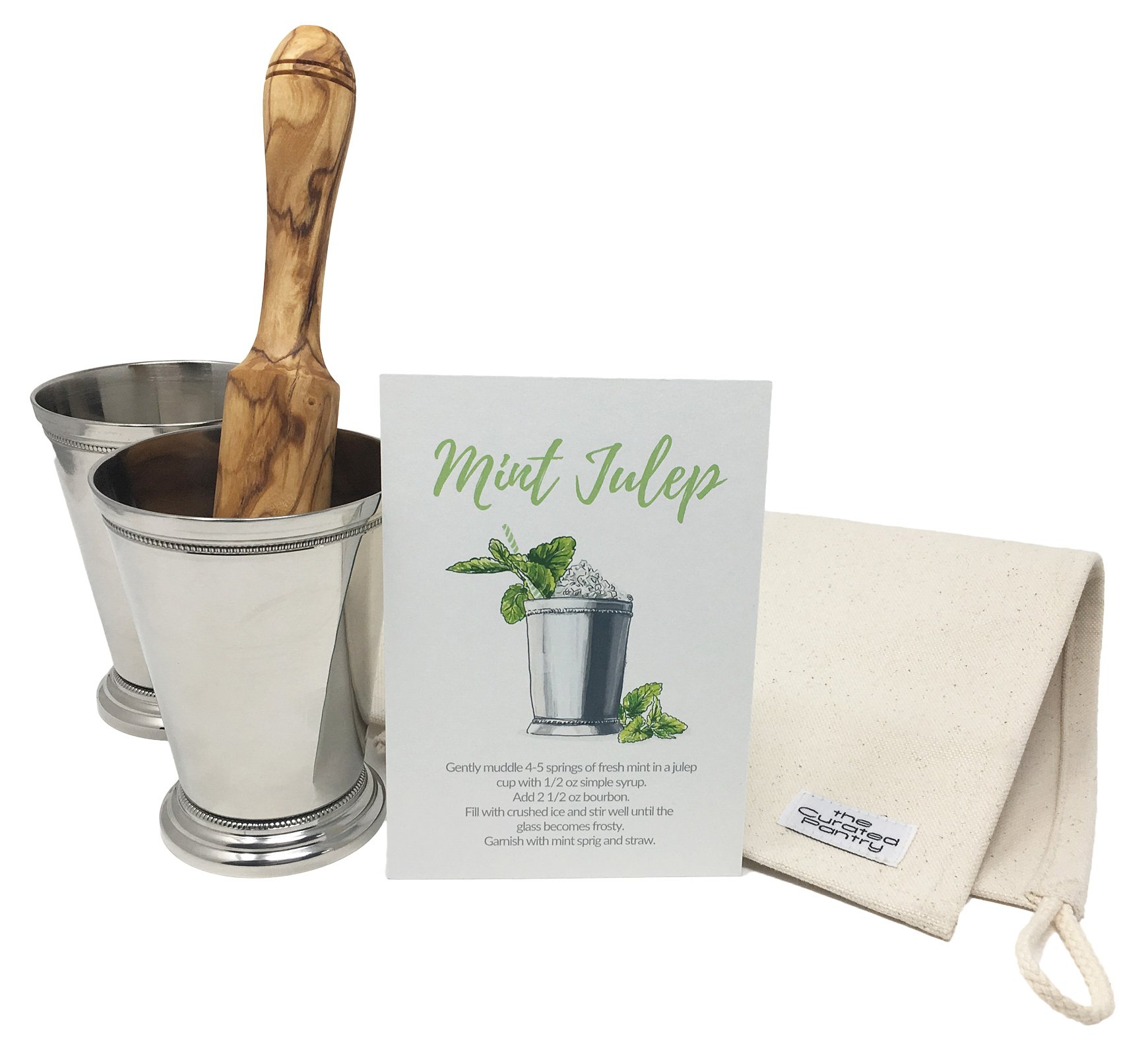 Mint Julep Cocktail Essential Tool Kit - (2) 12oz Cups, Lewis Bag, Muddler/Mallet and Recipe Card (5 items) by The Curated Pantry (Image #5)