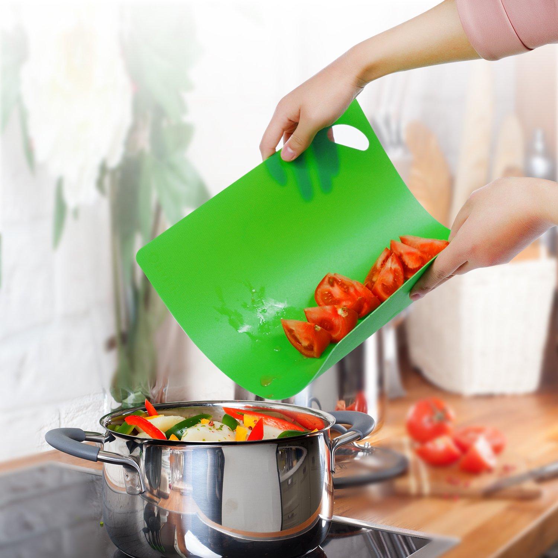 Compra Olivivi Juego de tableros de Corte de plástico Flexible Extra Grueso - Alfombrillas con Iconos de Alimentos y manijas Fáciles de agarrar, sin BPA, ...