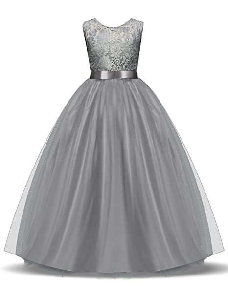 NNJXD Vestido de Fiesta con Encaje de Tul sin Mangas para Niñas Talla 13-14
