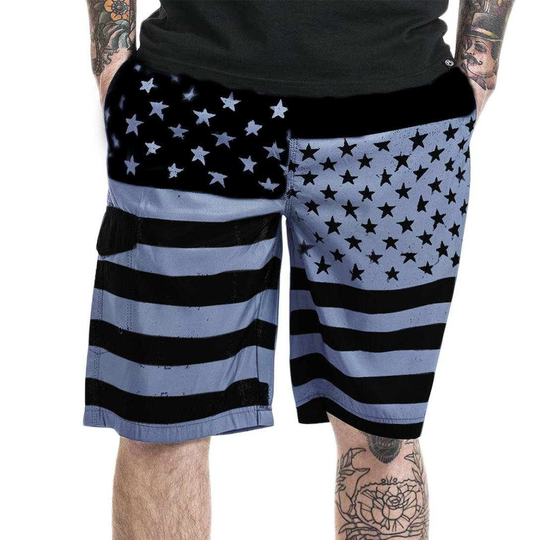 Men Puerto Rico Trunks Loose Fit Flag Print Quick-Dry Sports Beach Board Shorts Drawstring Pants Casual