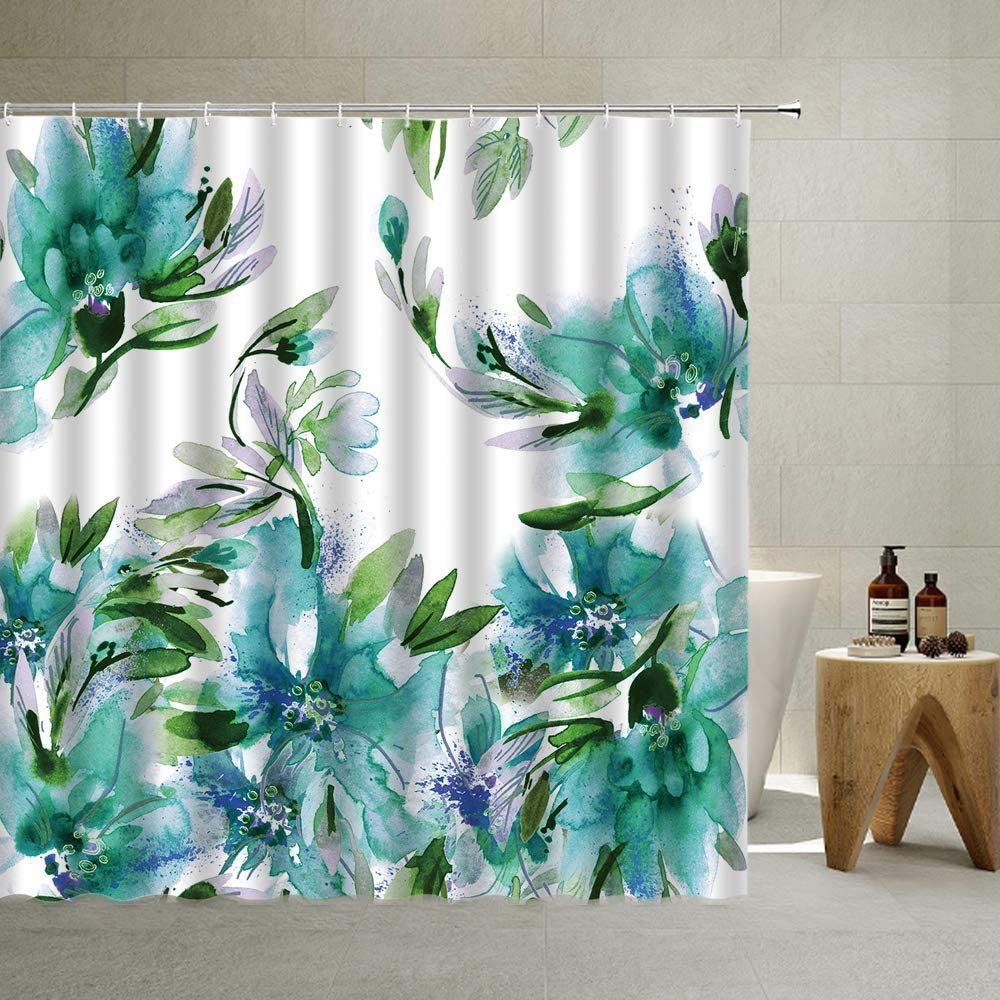 Watercolor Flower Shower Curtain Turquoise Fabric Floral Print Decor, Teal Peony Colorful Blooming Design Gradient , Irregular Green Plants Fashion Home,70 X 70 Inch Polyester (Teal, 70 X 70 Inch)