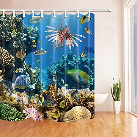 GoHEBE Sea Animals Decor Underwater With Coral Reef For Kids Shower Curtains Polyester Fabric Waterproof Bath