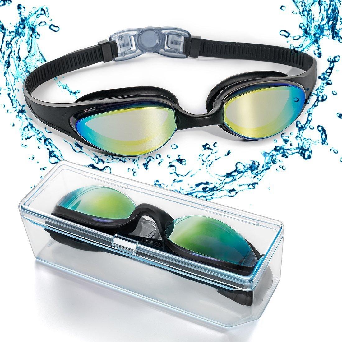HYX Swim Goggles, Swimming Goggles with Flexible Soft Nose Bridge & Coloured Mirror Lenses, No Leaking Anti Fog Uv Protection Triathlon Swim Goggles for Adult Men Women Youth Kids Ltd HYX-1-L