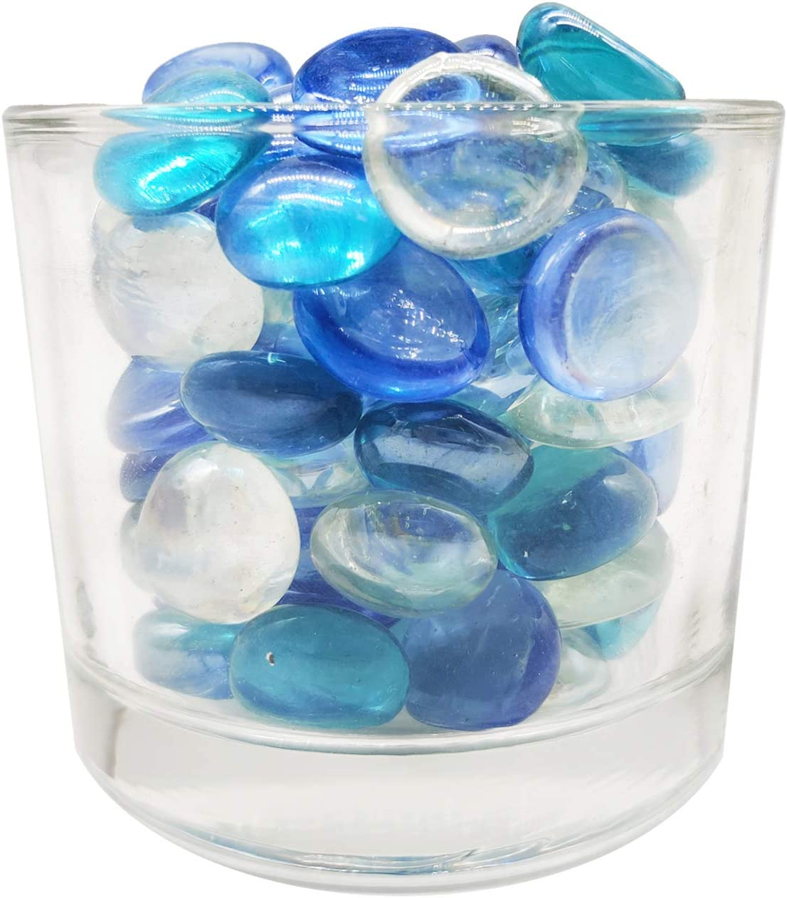 100 Pcs Decorative Glass Gems Mosaics Mixed Color Sea Blue Clear and Royal Blue for Vase Fillers,Aquarium,Crafts,Fountain Items