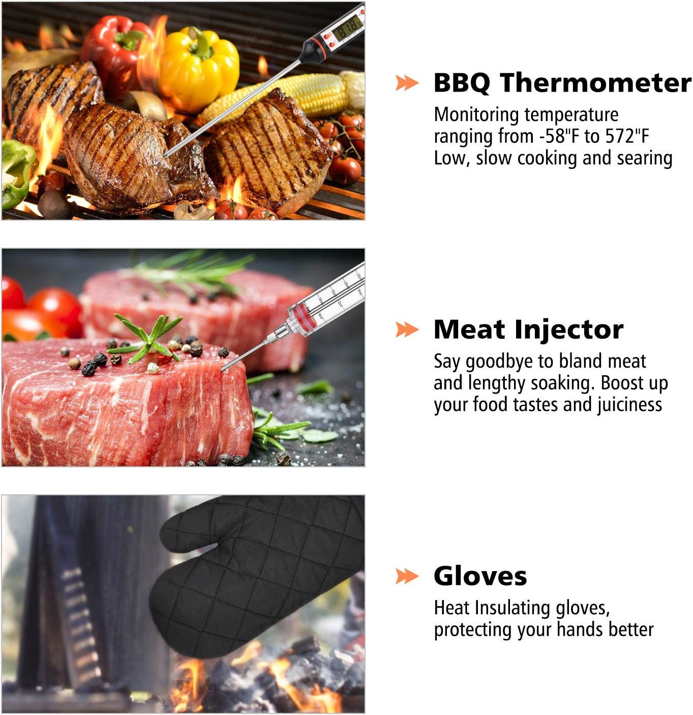 One Sight 27pcs Accessoires pour Barbecue /à Griller Ustensiles Barbecue Portables en Acier Inoxydable pour Camping BBQ
