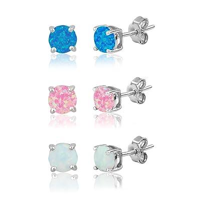 Aurora borealis ear studs 6mm ball 925 sterling silver sparkling crystal earrings women's rainbow colors vJB6XjQAX