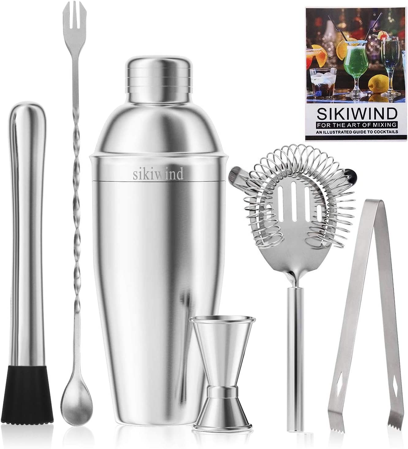 Cocktail Shaker Set 7Pcs Silver Stainless Steel Brushed Bar Cocktail Shaker Set Bartender Kit Bar Accessoires