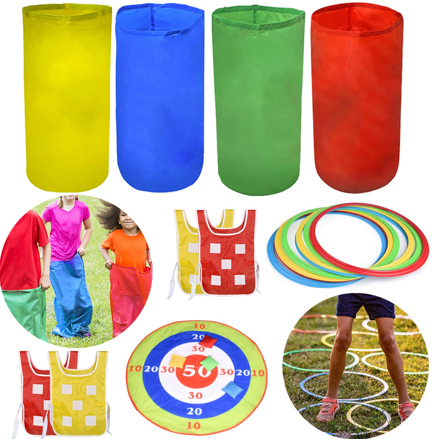 4 Outdoor Lawn Games Includes 4 Potato Sack Race Bags, 8 Hopscotch Rings, Toss Game Set with 4 Bean Bags and 4 Chasing Race Game Vests, Kids Outdoor Toys Birthday Party Games by FUN LITTLE TOYS