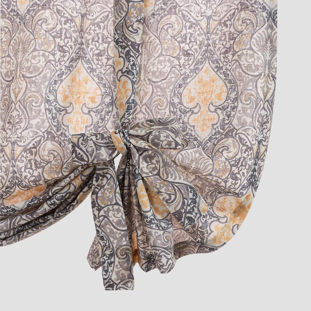 jinchan Tie Up Valance for Living Room Damask Printed Paisley Rod Pocket Drapes Multicolor Medallion Flax Window Curtain 1 Panel 45 inches Long Taupe