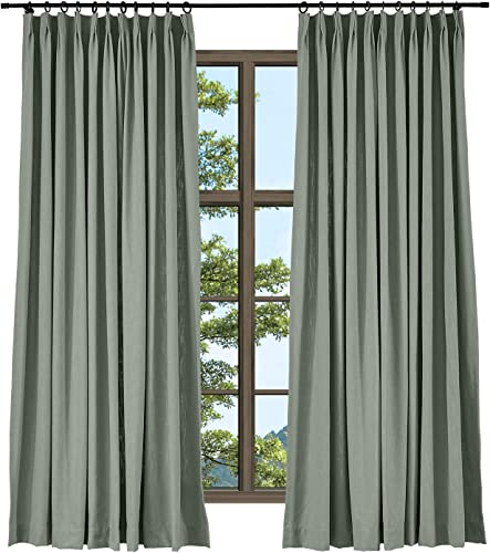 TWOPAGES Heavyweight Wide Width Privacy Pinch Pleated Drape Dark Gray Linen Cotton Natural Curtain