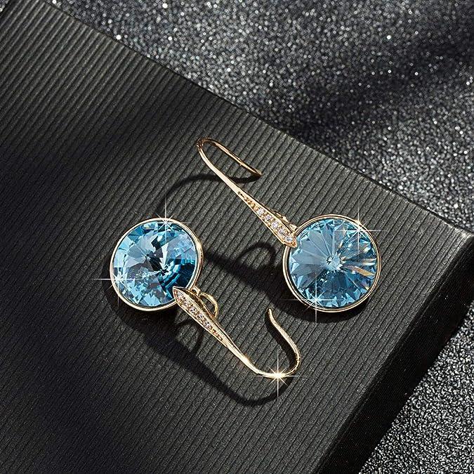 925 pendientes de Plata Cristales de Swarovski ® 14 mm Corte clásico-Aguamarina