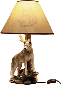 """Ebros Twilight Lone Timber Wolf Desktop Table Lamp With Shade Home Furnishing 20""""Tall Gray Wolf Decor"""