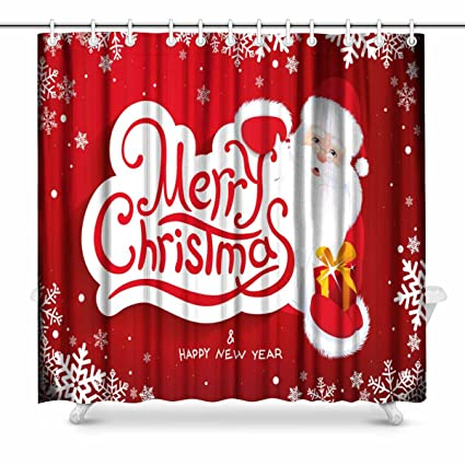 InterestPrint Christmas With Santa Claus Bathroom Decor Shower Curtain Set Hooks 72 Inches Extra