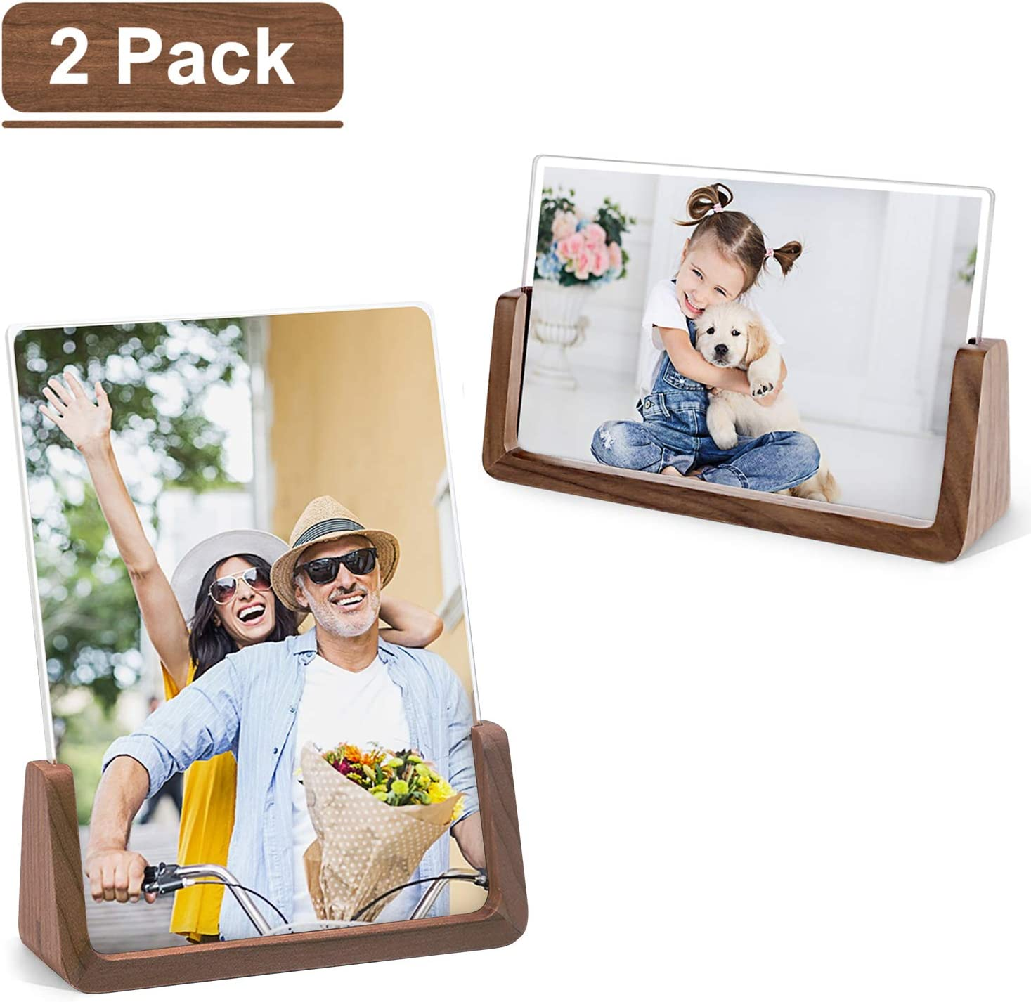 MEKO Picture Frame 5x7 Inch Wood Rustic Photo Frame Made of Walnut Wood Base and High Definition Break Free Acrylic Covers for Tabletop or Desktop Display - 2 Pack (Horizontal + Vertical)