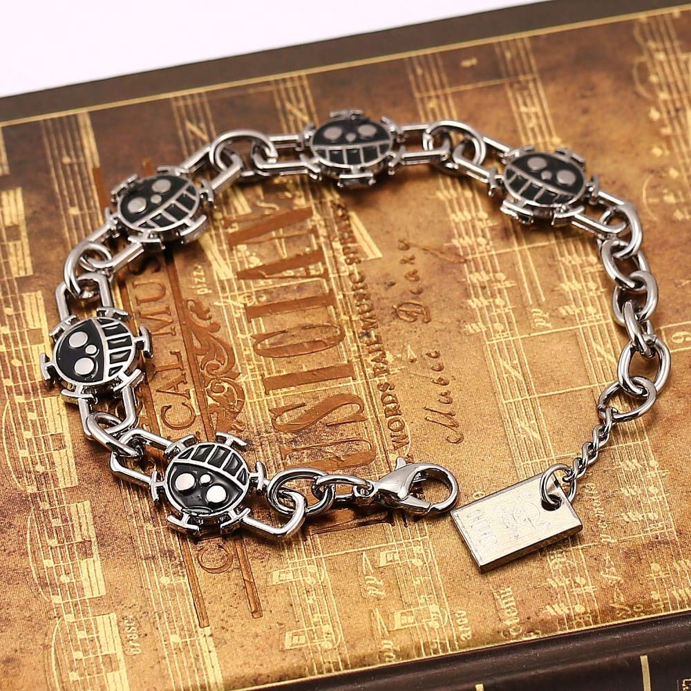 Value-Smart-Toys - 12pcs/lot one piece bracelet yellow&black Smile Face Bracelets Trafalgar Law metal bangles movie bracelet