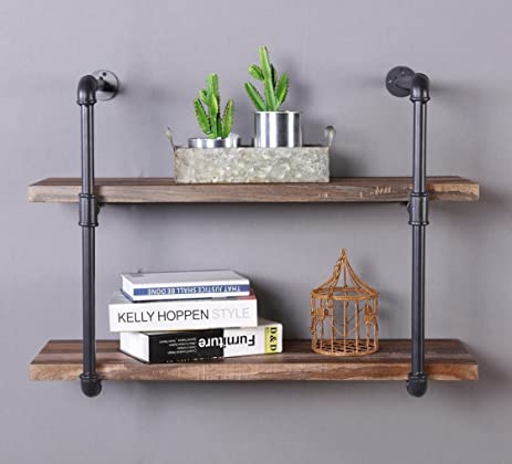 homissue 2shelf rustic pipe shelving unit vintage industrial pipe wall shelf retro