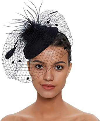 Zivyes Fascinator Hats for Women Pillbox Hat with Veil Headband and a  Forked Clip Tea Party Headwear (1-1-Black) at Amazon Women's Clothing store