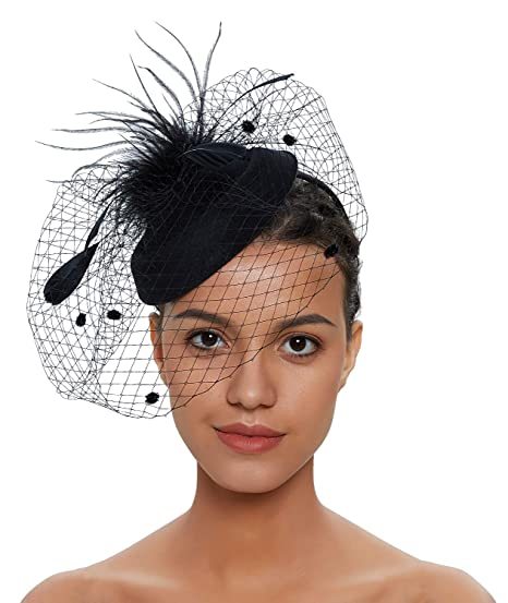 8392f5af27ab Zivyes Fascinator Hats for Women Pillbox Hat with Veil Headband and a  Forked Clip Tea Party
