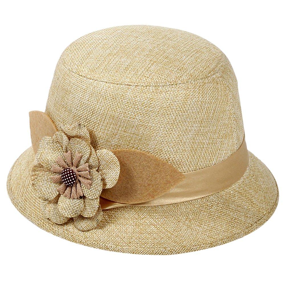 04392a57de78f diffstyle Women Cloche Hat Flower Bowler Bucket Hat Straw Floppy Sun Hat at  Amazon Women s Clothing store