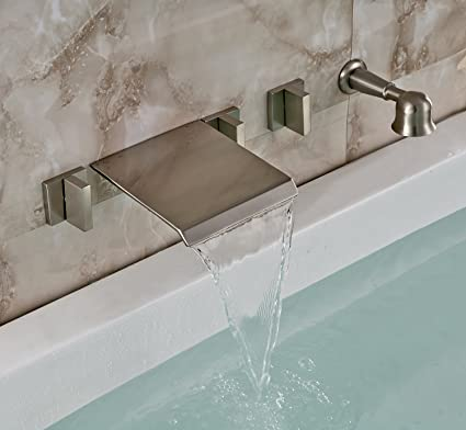 Rozin Brushed Nickel Wall Mounted Waterfall Bathtub Mixer Faucet Tap ...
