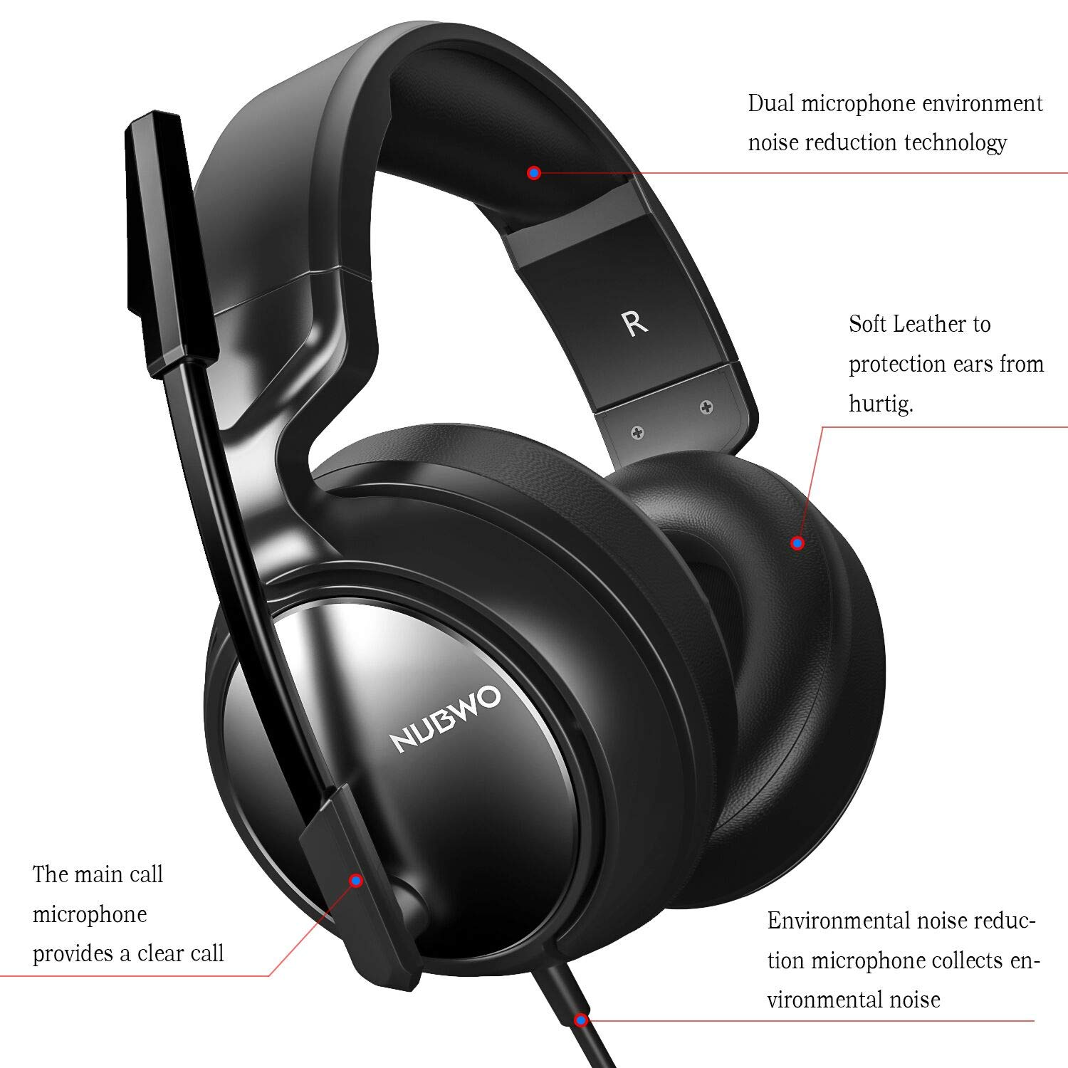 Gaming Headset for PS4, Xbox One, PC, Professional 50mm Driver, 3.5mm Surround Stereo Game Headphones with Noise Cancelling Mic Volume Control for Nintendo Switch, Laptop iPad Video Game