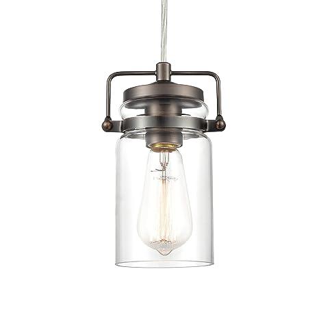 3d756dabc907 Light Society Topeka Mini Mason Jar Pendant Light, Glass Shade with Modern  Bronze Finish, Vintage Industrial Modern Lighting Fixture (LS-C236-BZ) ...